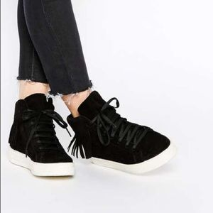 River Island high top sneakers - black with fringe